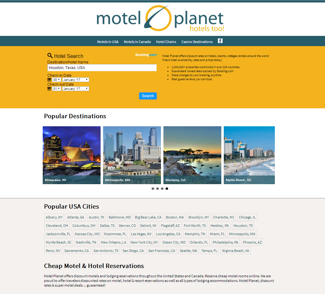 screenshot of the Motel Planet website